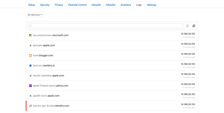 Cách theo dõi nhật ký trên NextDNS