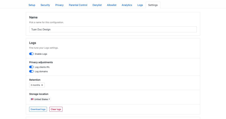 Tìm hiểu các chức năng cài đặt trên NextDNS