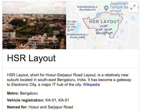 HSR Layout Map