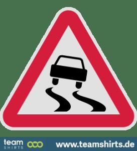 Rutschiges Verkehrsschild