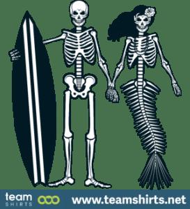 Surfer und Meerjungfrau Skelett
