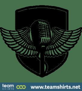 MIKROPHON MIT FLÜGELN UND SCHILD