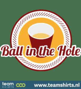 Bier Pong Ball im Loch Logo