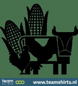 Mais mit Kuh und Hahn