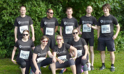 Pluspol Interactive team and running shirts they designed themselves