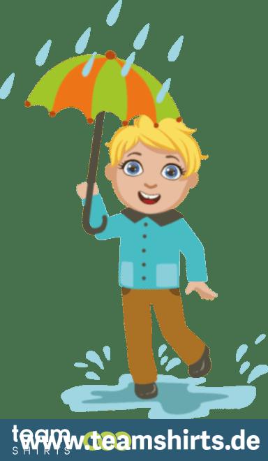 Junge im Regen