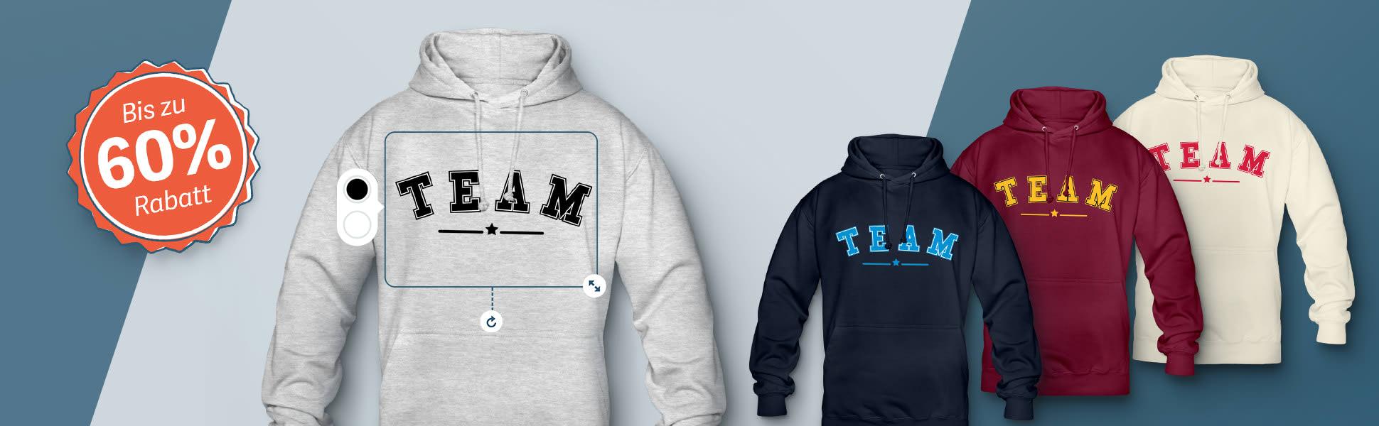 Hoodie und Pullover bedrucken & besticken lassen | TeamShirts