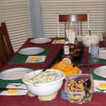 Dinner table set with rib feast