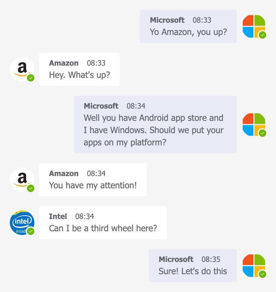 Microsoft, Amazon and Intel