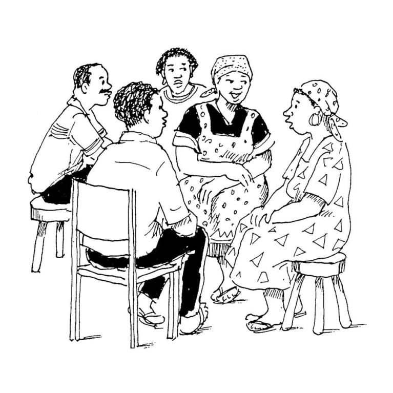 ¿Cómo le daríamos la bienvenida a un exconvicto en nuestra iglesia o grupo de estudio bíblico? Ilustración: Petra Röhr-Rouendaal, Where there is no artist [Donde no hay artistas] (segunda edición)