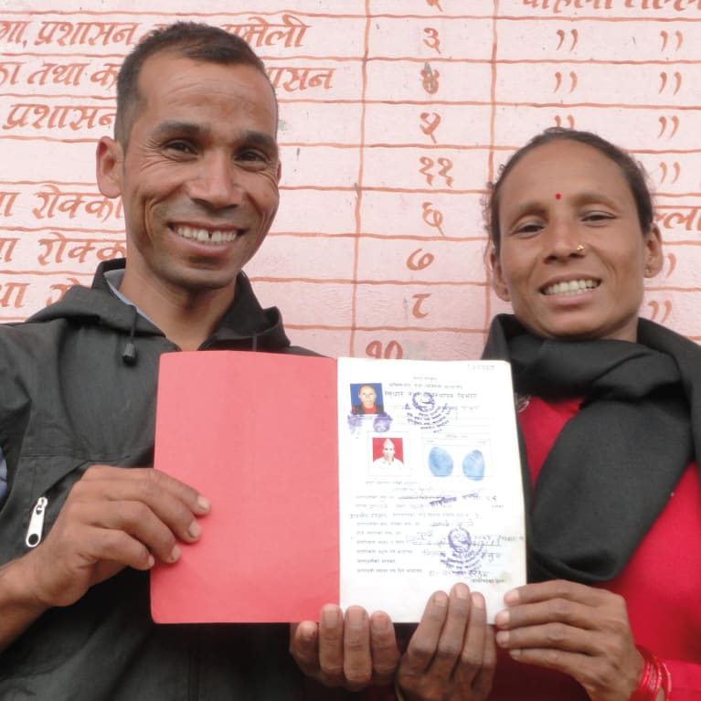 Bimala Kami and her husband, Lalbir, were the  rst couple in their district to get a certi cate of joint land ownership. Photo: United Mission to Nepal