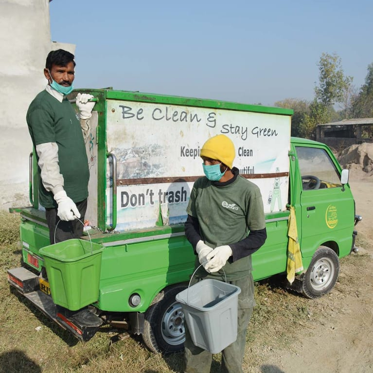 'Environment guards' collect household waste and transport it to the IRRC in Islamabad. Photo: Hamid Ullah/AHKMT