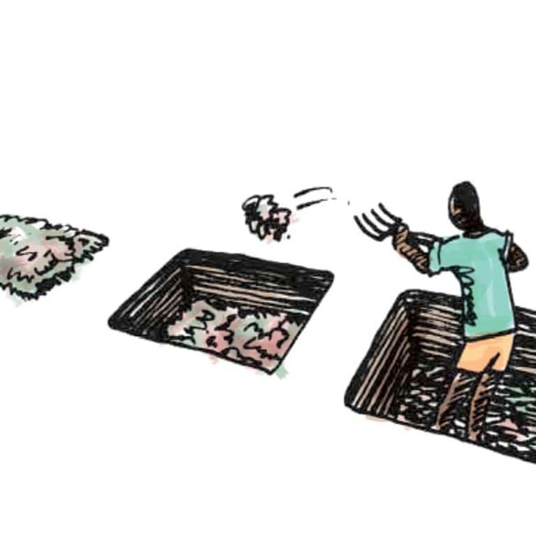Un fantástico compost en cinco pasos. Ilustración: Petra Röhr-Rouendaal, Where there is no artist [Donde no hay artistas] (segunda edición)