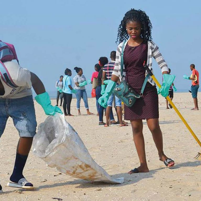 David Junior and his youth group organised a beach clean-up in Maputo, Mozambique. Photo: Anisio Macie/Anglican Youth