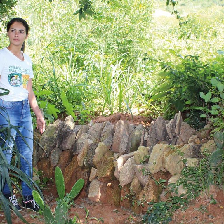 María construyó márgenes de piedras para retener la lluvia y ayudar a que el agua sea absorbida por el suelo, creando un área en la que puede tener una amplia variedad de árboles y cultivos. Foto: Acervo Diaconia