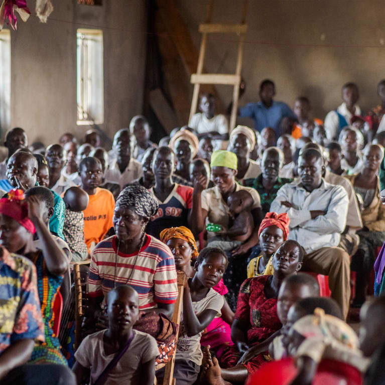 People from the local community gather at a special Church of Uganda service in Kaberamaido district, Uganda. Photo: Todd Weller/Tearfund