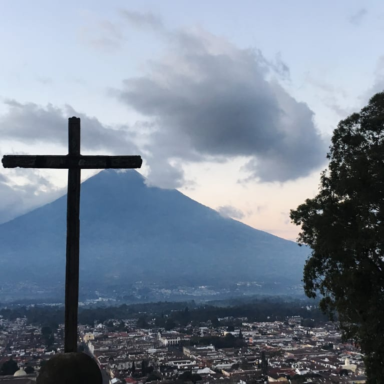 The empty cross, like this one in Antigua, Guatemala, reminds us that Jesus is alive. Photo: Lydia Powell/Tearfund