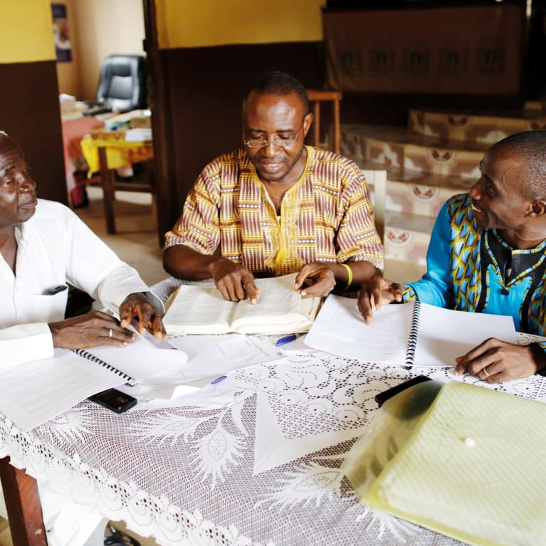 Faith leaders worked together to change people's perceptions during the Ebola outbreak in Sierra Leone. Photo: Layton Thompson/Tearfund