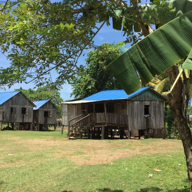 Stilted houses in a rural community