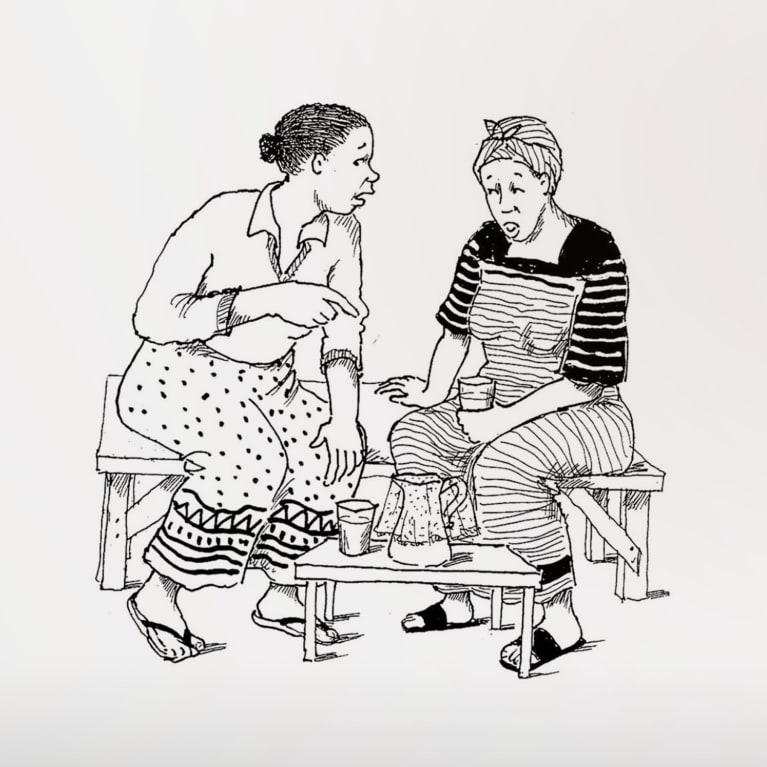 illustration depicting two women having a conversation