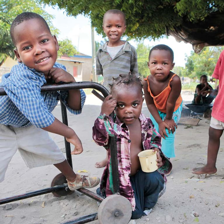 Simple walking aids such as this one in Tanzania can help children with mobility problems gain independence.