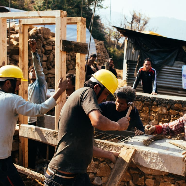 Progress continues on the construction of a new earthquake-resilient house in the Makwanpur district of Nepal.