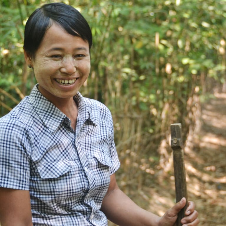 A woman from Myanmar, who is part of a local church community building project. Photo: Chloé Quanrud/Tearfund