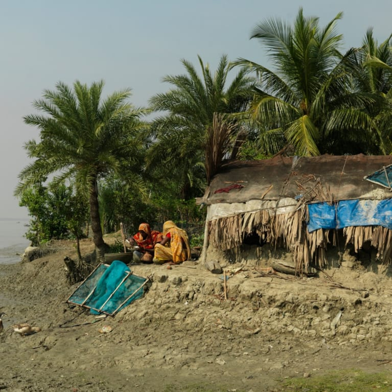 Climate change has impacted people in Bangladesh, where rising water levels and erosion has increased the risk of people losing their homes.