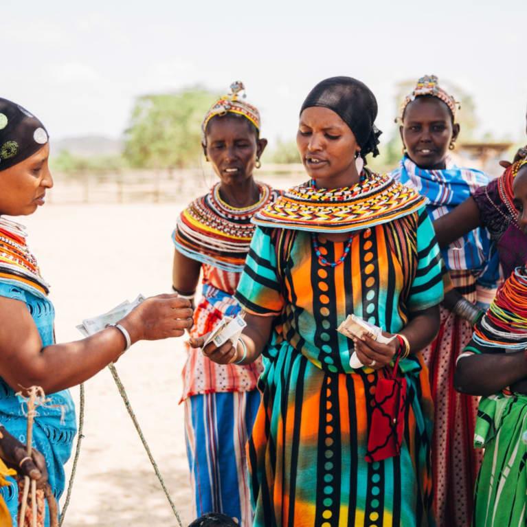 Traders at a livestock market in Marsabit, Kenya.