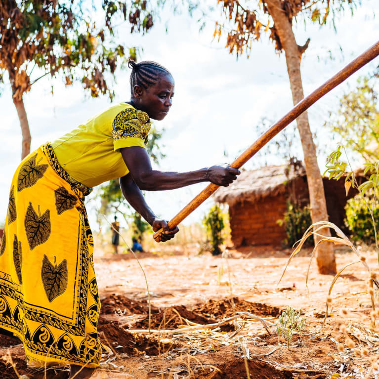 Aksa practices conservation farming in her village. She prepares the ground for sowing by digging holes and adding a homemade fertiliser (made of manure and ash), measured out using a re-purposed plastic water bottle.