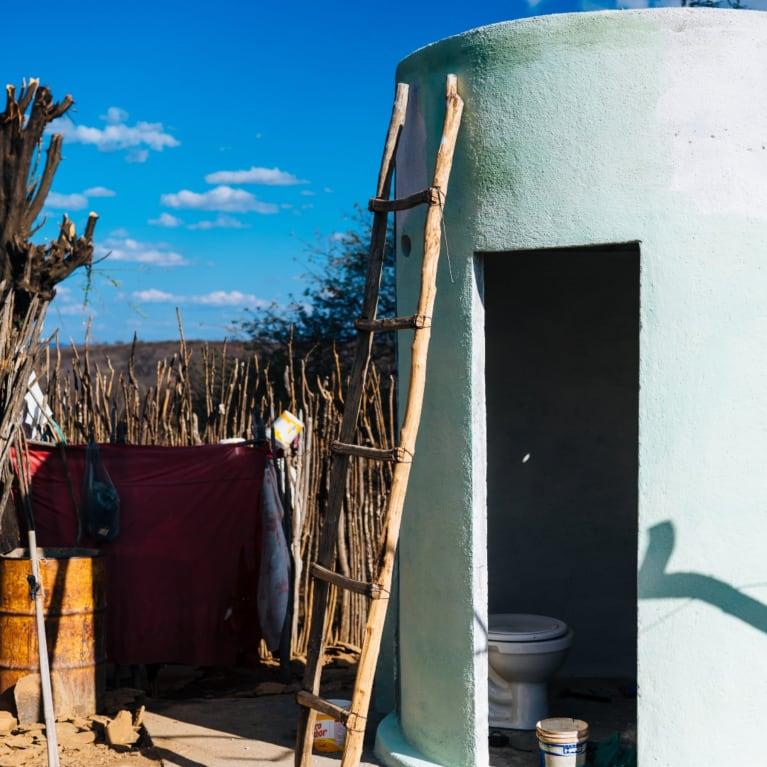 A latrine is built in Barra de Oitis, Brazil.