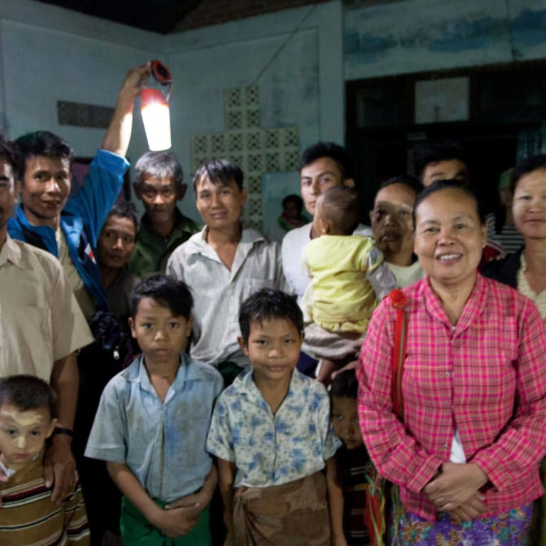 Electric light enables women and families to meet in their rural church in Myanmar.