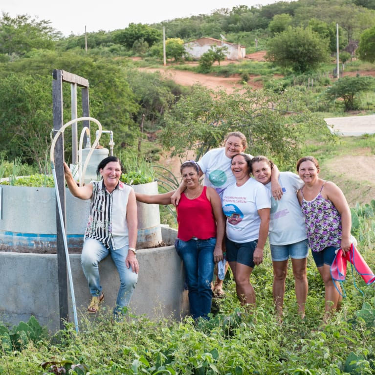 Members of a women's group in northeastern Brazil use a biodigestor to turn waste into gas for cooking. Photo: Eleanor Bentall
