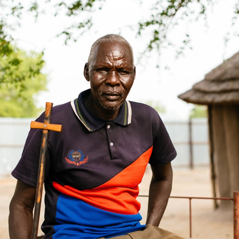 Reverend Moses in South Sudan, who helped his community set up small gardens.