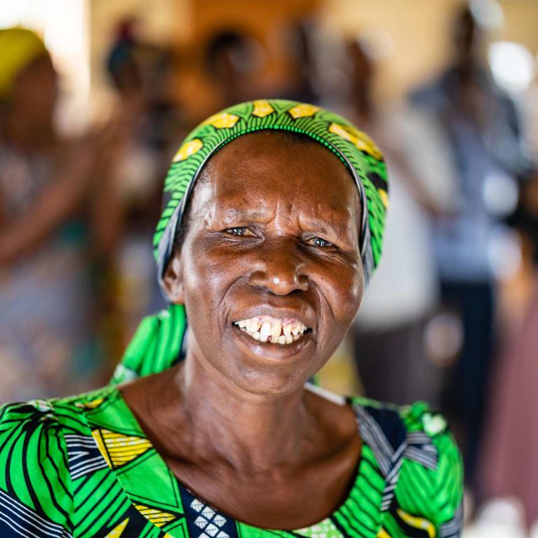 65 year old Valerie is a member of a self help group in Rwanda