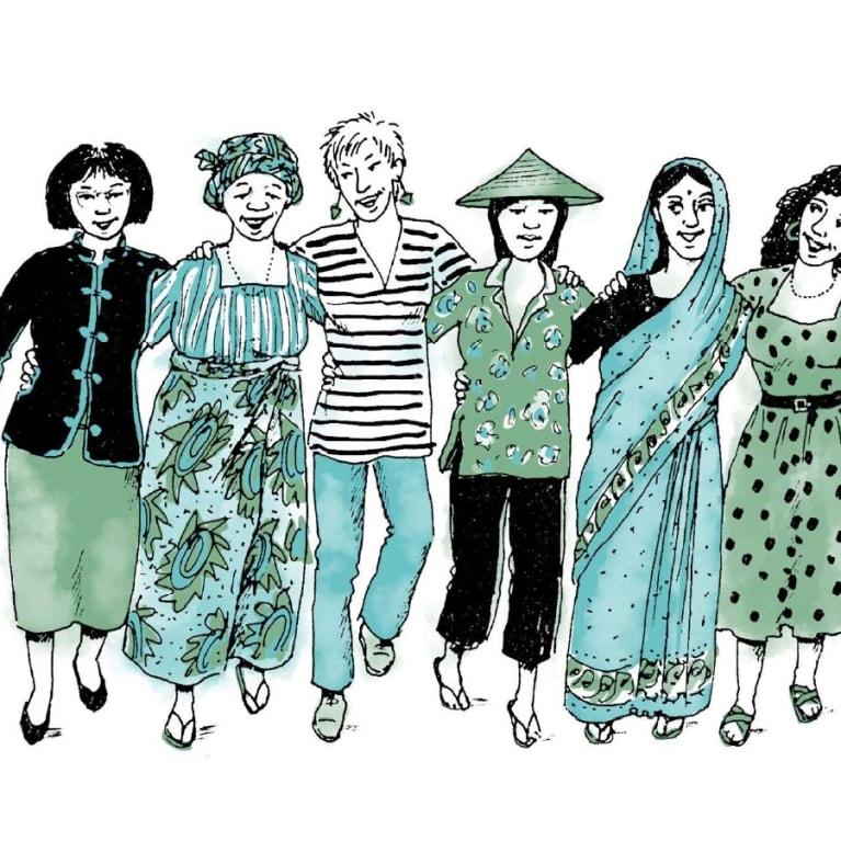 Ilustración de portada de mujeres de diferentes países. Diseño: www.wingfinger.co.uk