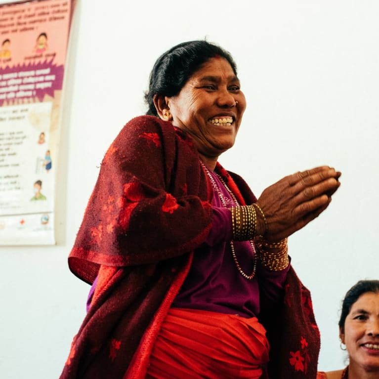 Woman happy in meeting
