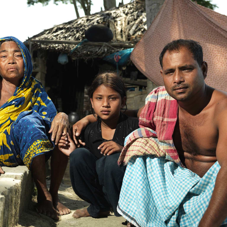 A family affected by climate change in Bangladesh.