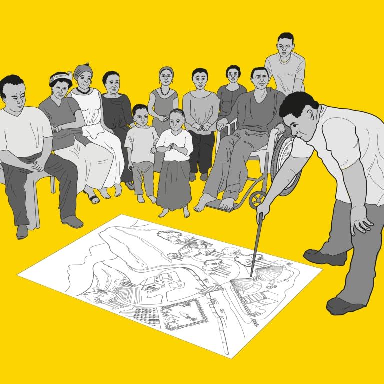 Illustration des membres de l'Église et de la communauté travaillant ensemble pour trouver des solutions locales. Illustrations : Ken Chatterton et Rod Shaw, WEDC, université de Loughborough