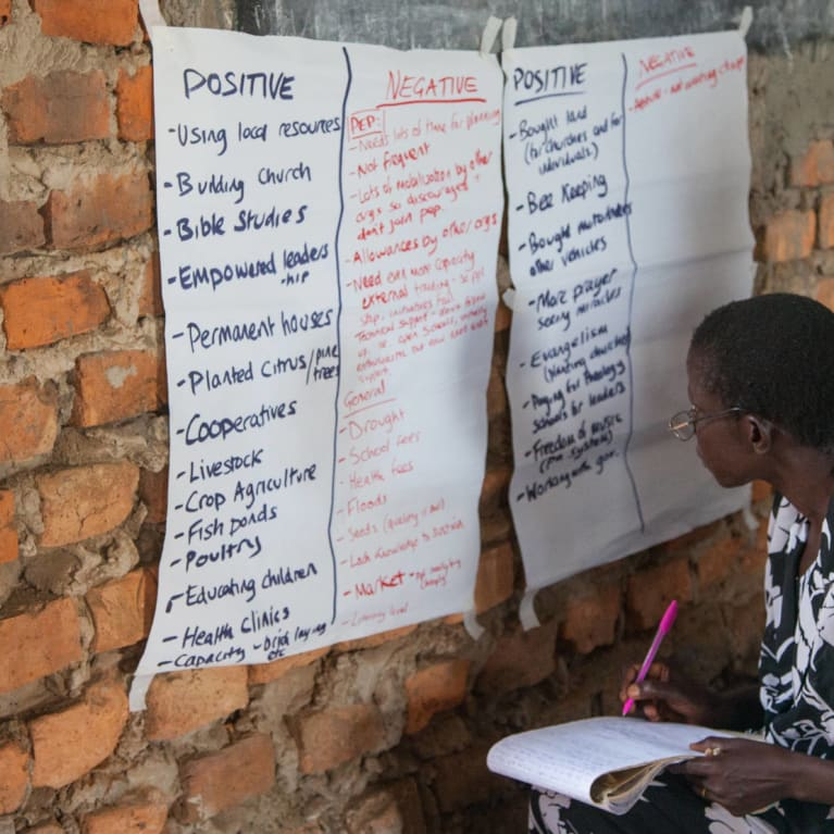 Member of a church in Omagara, Uganda. A group of church members are reviewing the progress they have made to respond to needs in their community. Photo: Charlotte Flowers/Tearfund