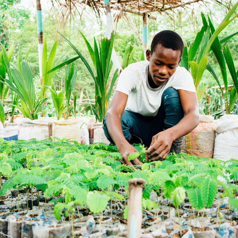 Renald, from Haiti, at work in a community garden set up by Tearfund's local partner |Ruth Towell/Tearfund