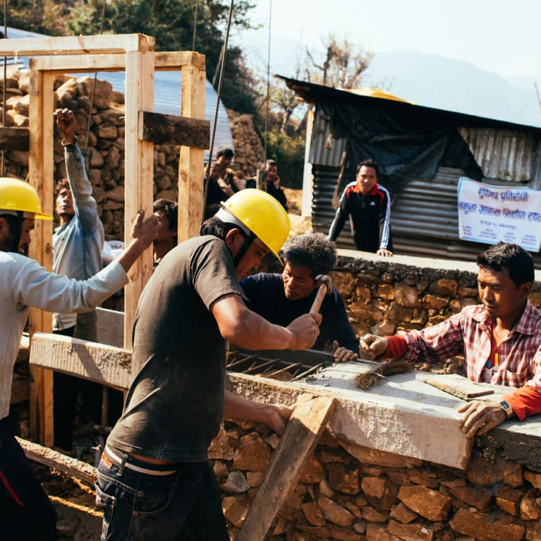 Construction of a new earthquake-resilient house in Tistung VDC, Makwanpur district of Nepal.