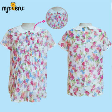 (Large Size) Chiffon Rose Flower Printed Design Blouse
