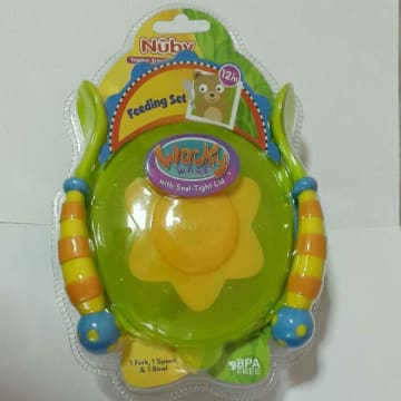 Wacky Ware with Seal-Tight Lid, Nuby Toddler Training Feeding Set 12m