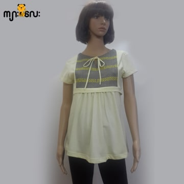 (Medium Size) Stretchable Yellow With Front Cotton Gray Stripe Breast Fee