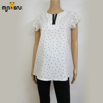 (Medium Size) Stretchable White Black Spot with Pearl Blouse
