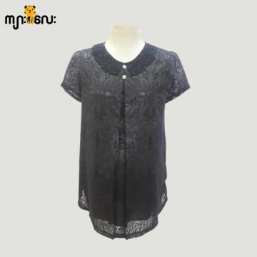 (Large Size) Chiffon black Flower Printed Design With Lace Blouse