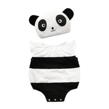 Panda Costume Romper Outfit Set - with hat