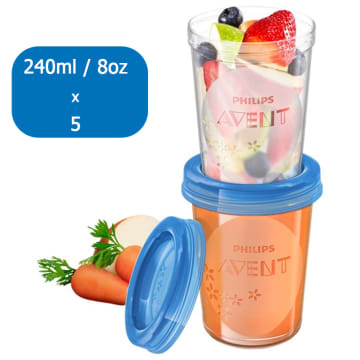 5 Reusable Food Storage Cups - 240mL/ 8 oz ( 6 M +) SCF-639/05