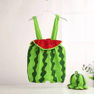 Watermelon style baby romper dress (with hat)